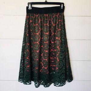 """LULAROE """"LOLA"""" Circle Skirt Pink w/ Green Lace XS"""
